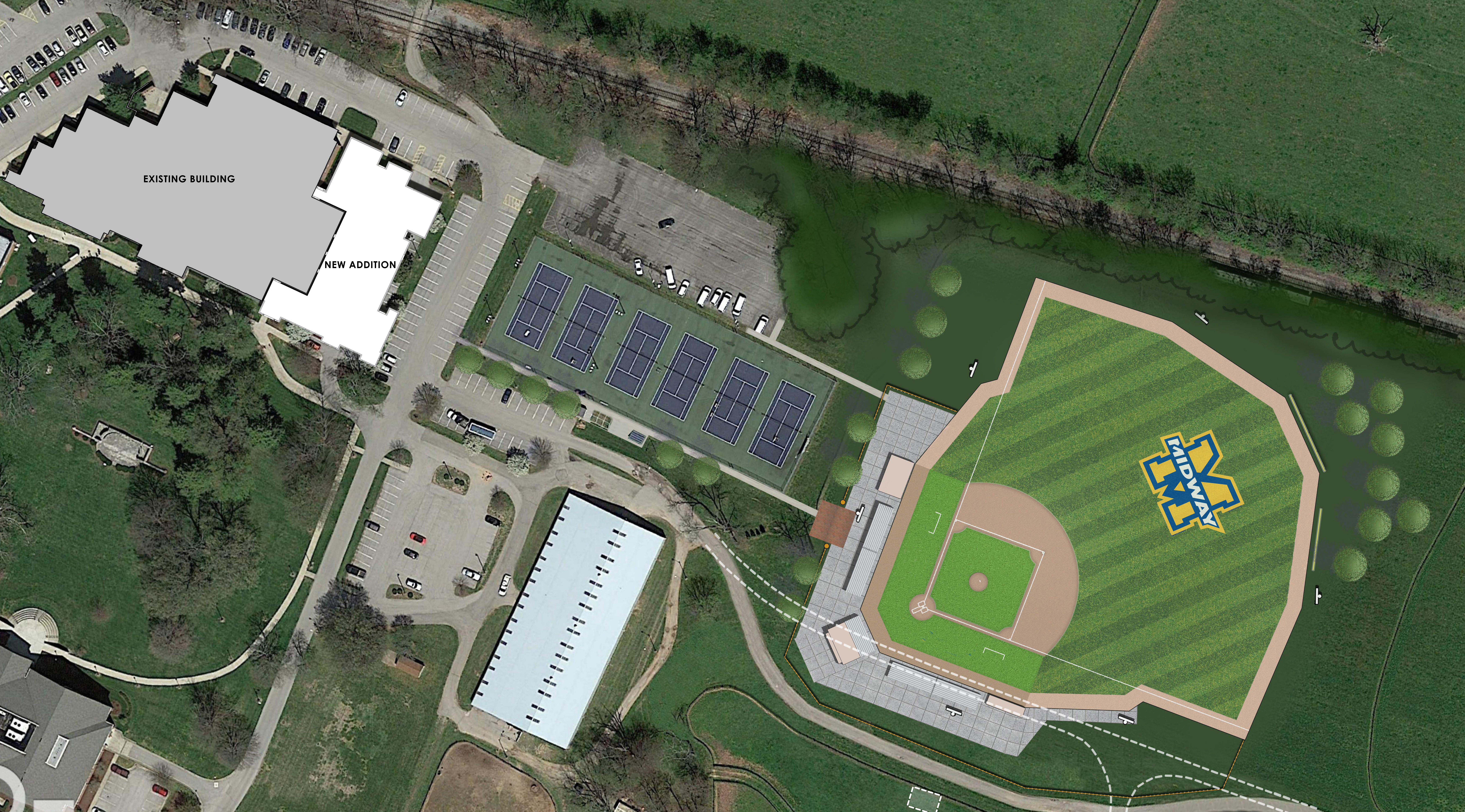 midway university baseball park aerial view