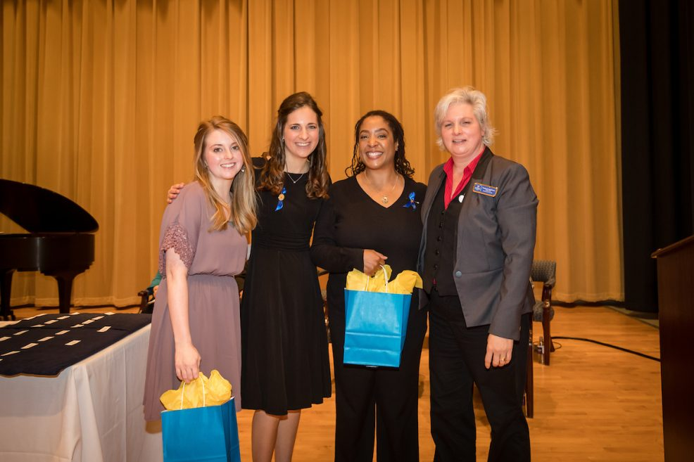 Midway Association of Nursing Students outgoing officers Jocelyn Kinney, Stacy Frost and Kerri Preston with advisor Tonya Stephens (L to R)